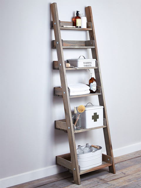 rustic wooden ladder shelf contemporary step ladders and stools london by cox cox. Black Bedroom Furniture Sets. Home Design Ideas