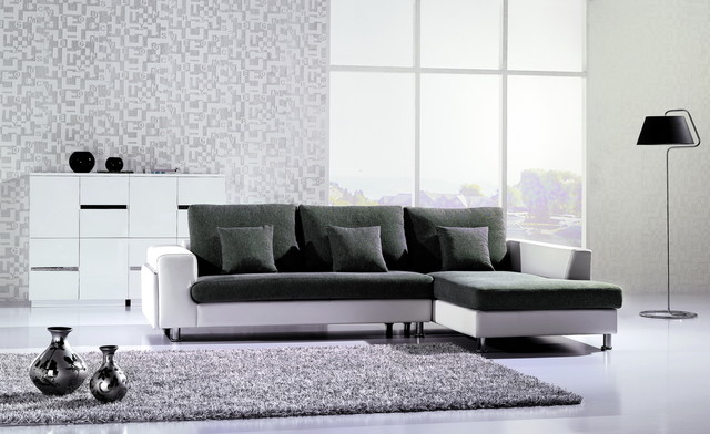 F American Eagle Gray Fabric White Leather Sectional Sofa