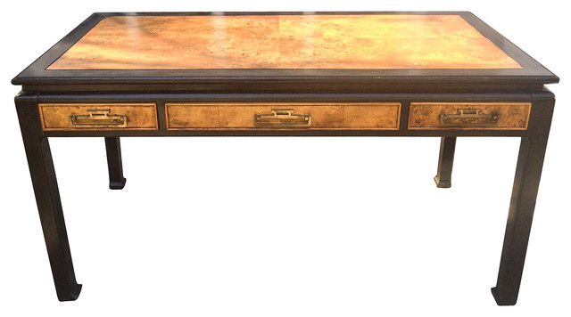 Burled wood lacquered asian style desk asian desks and for Asian inspired desk