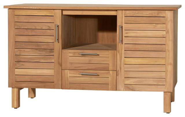 Meuble salle de bain en bois de teck 125 soho coastal - Organisation salle de bain ...