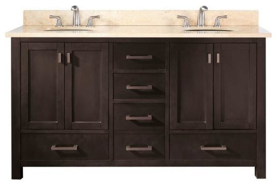 Avanity Modero Vanity 60 Inch Double Vanity Espresso Transitional Bathroom Vanities And