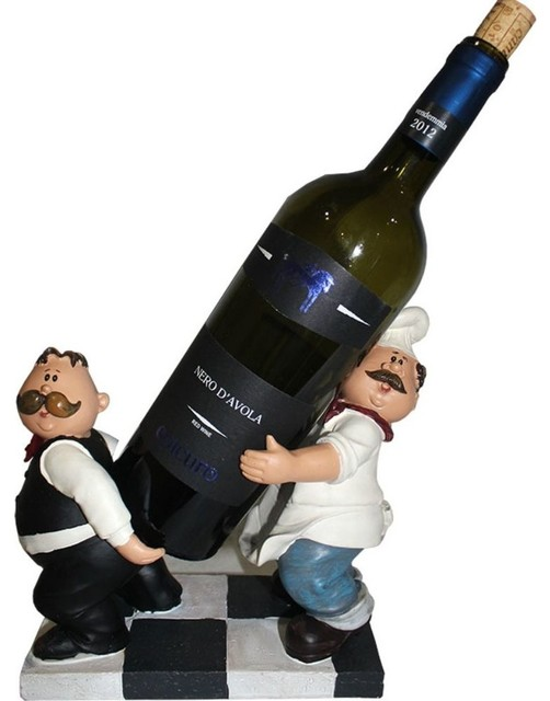 Wine Holder Chef And Waiter Polyresin Eclectic Wine And Bottle Openers