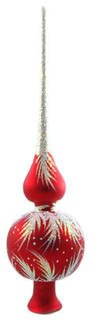 Traditional Glass Christmas Tree Ornaments : Crystal red glass christmas tree topper traditional