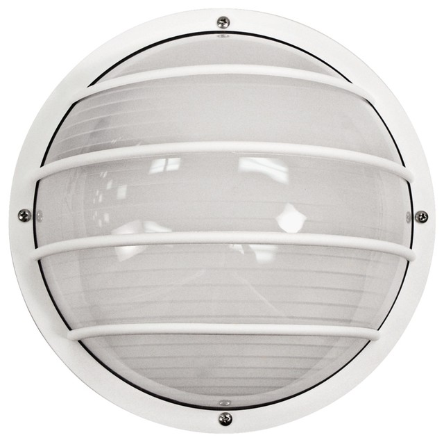 Wave Nautical Round White Outdoor Ceiling or Wall Light - Contemporary - Outdoor Lighting - by ...