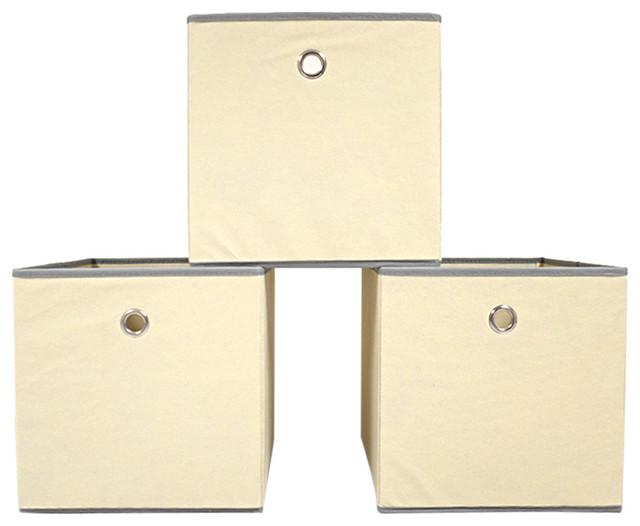 Colonial fabric bin beige contemporary storage bins for Beige bathroom bin