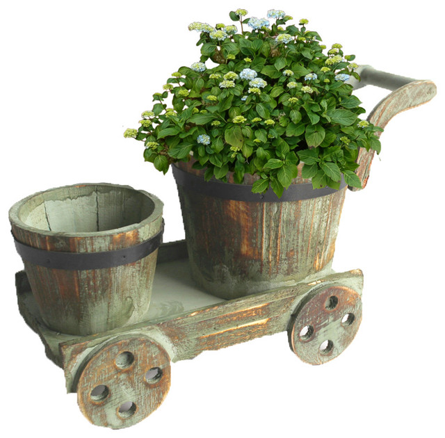 Barrel Planters On Cart Country Indoor Pots And Planters