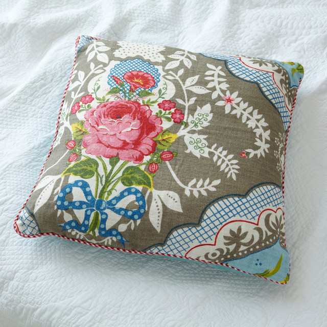 large khaki shabby chic linen cushion - Farmhouse - Decorative Pillows - london - by rigby & mac