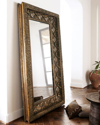 Resin floor mirror traditional floor mirrors by horchow for Big floor mirror