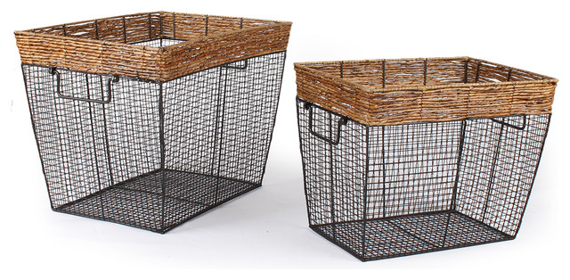 Seagrass And Iron Wire Round Wide Mouth Baskets Set Of