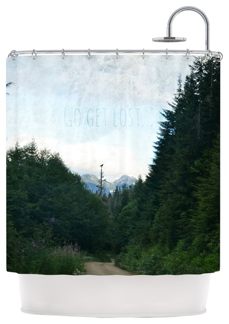 Robin Dickinson Go Get Lost Forest Green Shower Curtain Contemporary Shower Curtains By
