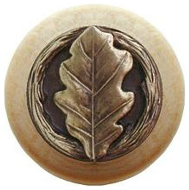 Oak Leaf Wood Knob, Antique Brass, Natural Wood Finish - Cabinet And Drawer Knobs - by Notting ...