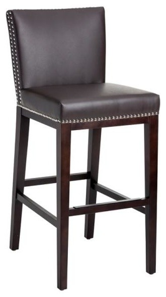 Counter Height Stools Uk : Leather Stool With Nailhead, Brown, Bar Height contemporary-bar-stools ...