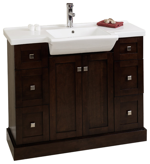 Birch Wood Veneer Vanity Set In Walnut 40 X18 Modern Bathroom Vanities And Sink Consoles