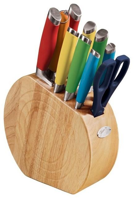 Fiesta Multi Color 11 Piece Oak Cutlery Block