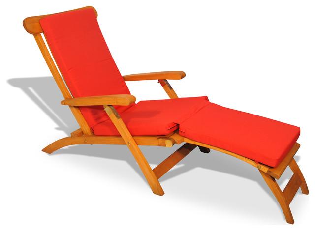 Teak Steamer Chair Chaise Lounge With Sunbrella Cushion Canvas Jockey Red