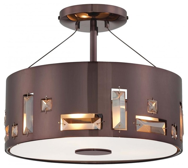 3 light chocolate chrome drum shade semi flush mount. Black Bedroom Furniture Sets. Home Design Ideas
