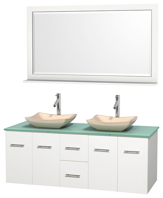 Centra 60 White Double Vanity Green Glass Top Avalon Ivory Marble Sinks Modern Bathroom