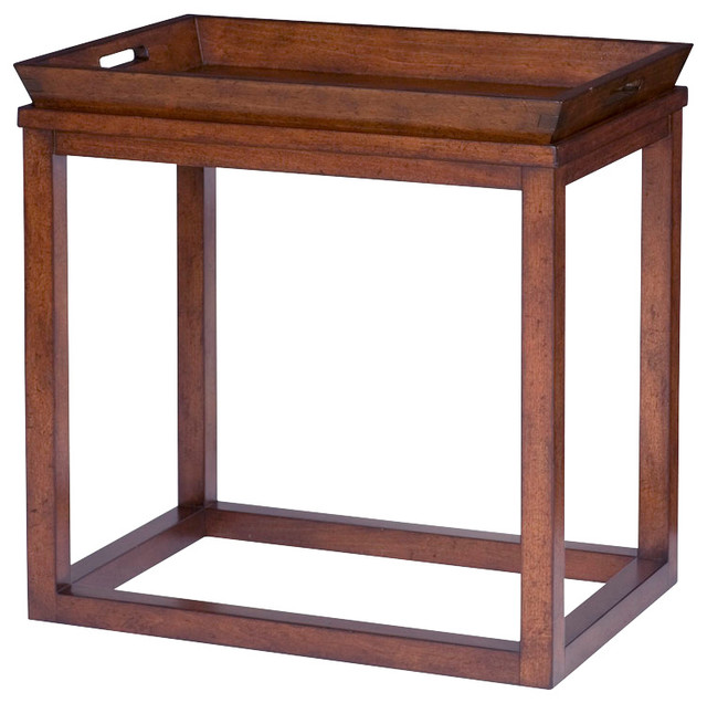 hammary modern lodge chairside tray table in rustic cherry