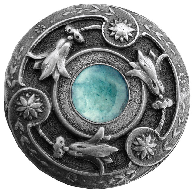 Jeweled Lily Knob Antique Pewter/Green Aventurine natural stone - Southwestern - Cabinet And ...