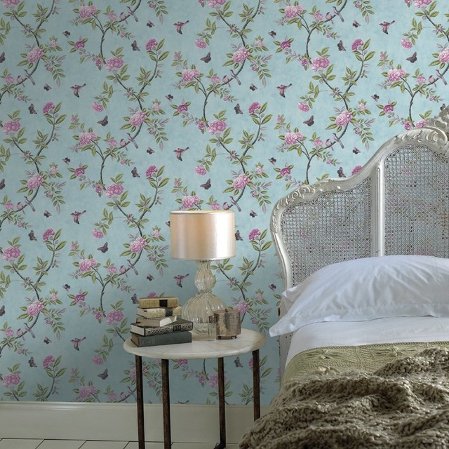 Chinoiserie Duck Egg Wallpaper - Contemporary - Wallpaper - by Graham & Brown