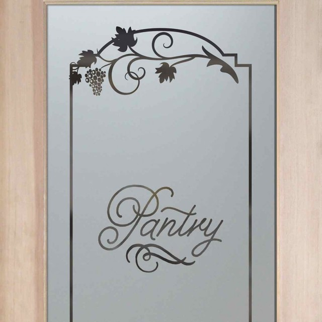... Glass Door Pantry Cabinet With Pantry Doors Frosted Etched Glass Designs  Eclectic Pantry With Maple Kitchen Part 66