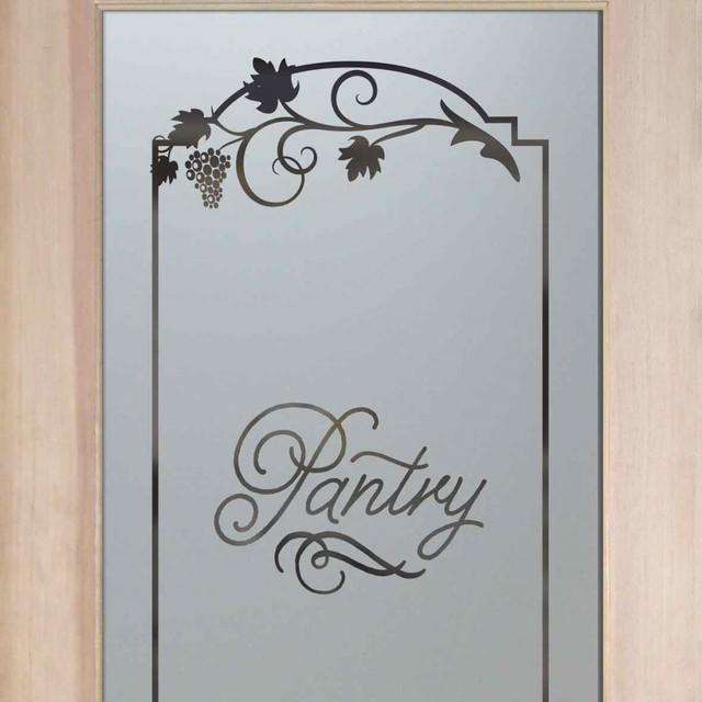 Etched Grape Design Kitchen Cabinet