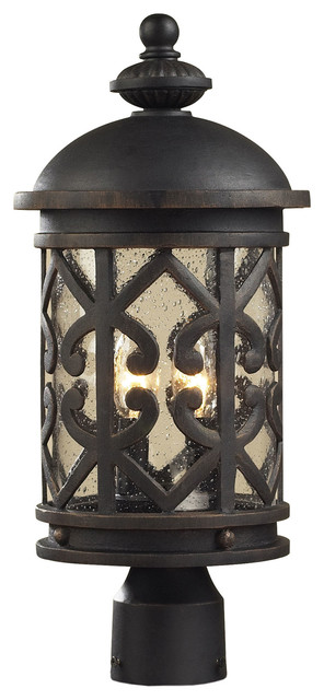 Tuscany coast 2 light exterior post lamp weathered for Mediterranean lighting fixtures