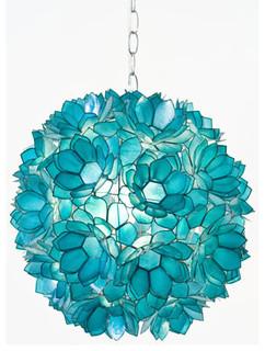 Worlds Away Venus Pendant Capiz Shell Floral Turquoise