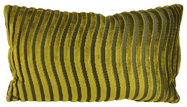 Green Velvet Lumbar Throw Pillow With Feather Down Insert - Modern - Decorative Pillows - by ...
