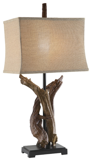 twisted drift wood finish resin lamp 33 inches tall burlap shade rustic table lamps by zeckos. Black Bedroom Furniture Sets. Home Design Ideas
