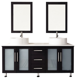 """59"""" Double Lune Large Vessel Sink Modern Bathroom Vanity with Phoenix Stone Top - Transitional ..."""