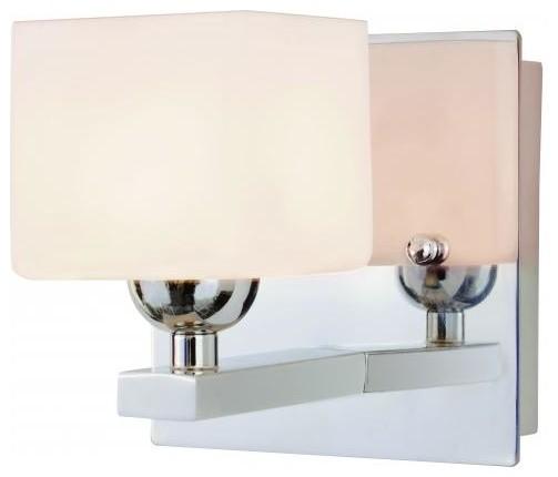 One light polished chrome white opal cube glass bathroom sconce transitional bathroom vanity for Transitional bathroom lighting