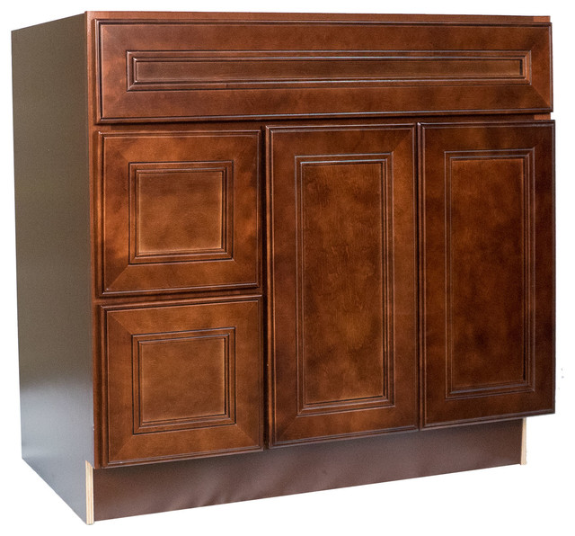 Cherry mahogany brown leo saddle vanity single sink cabinet 36 right traditional bathroom for Cherry bathroom vanity cabinets