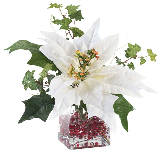 Silk poinsettia arrangement white contemporary for Poinsettia arrangements
