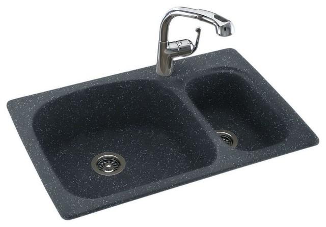 Hole Large Small Double Bowl Kitchen Sink, Black Galaxy kitchen sinks