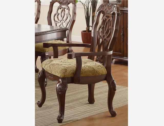Coaster Formal Cherry Wood Dining Arm Chairs Cushion Seat Ribbon Back Tradi