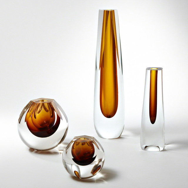 Global Views Glass: Global Views Shaped Amber Glass Vase