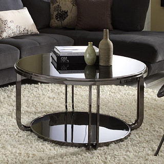 Tribecca home edison black nickel plated castered modern for Red modern coffee table