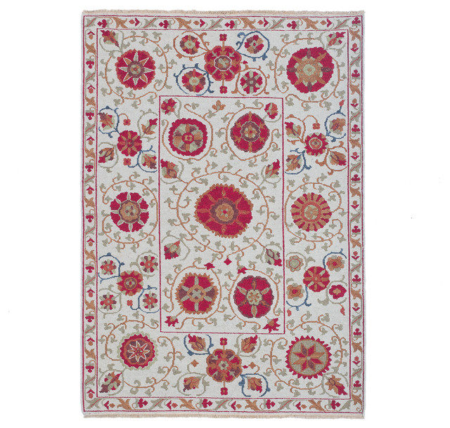 Suzani 8 Hand-Woven Wool Rug (10'x14') - Mediterranean - Area Rugs - by C.G. Sparks