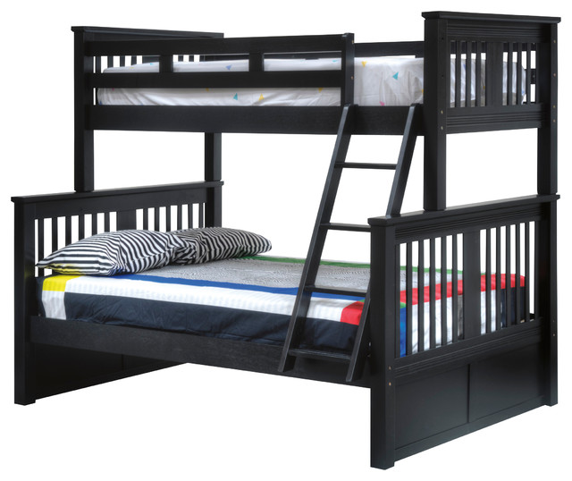Brockton twin over full bunk bed with underbed storage drawers black transitional bunk beds - Kids twin beds with storage drawers ...