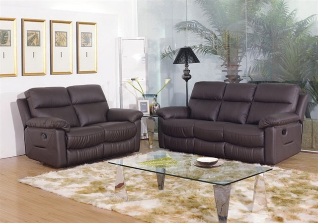 Harrol 2 piece reclining sofa set contemporary living for 6 piece living room furniture sets