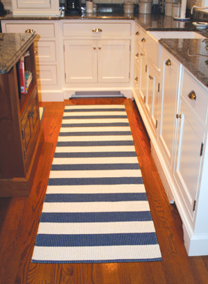 Darlarna Lina Navy Blue Stripe Rug Contemporary Rugs