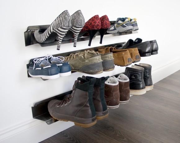 Horizontal Shoe Rack Wall Mounted - Modern - Shoe Storage
