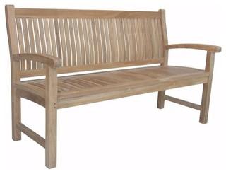 Anderson Teak Chelsea 2 Person Teak Patio Bench Modern Garden Benches