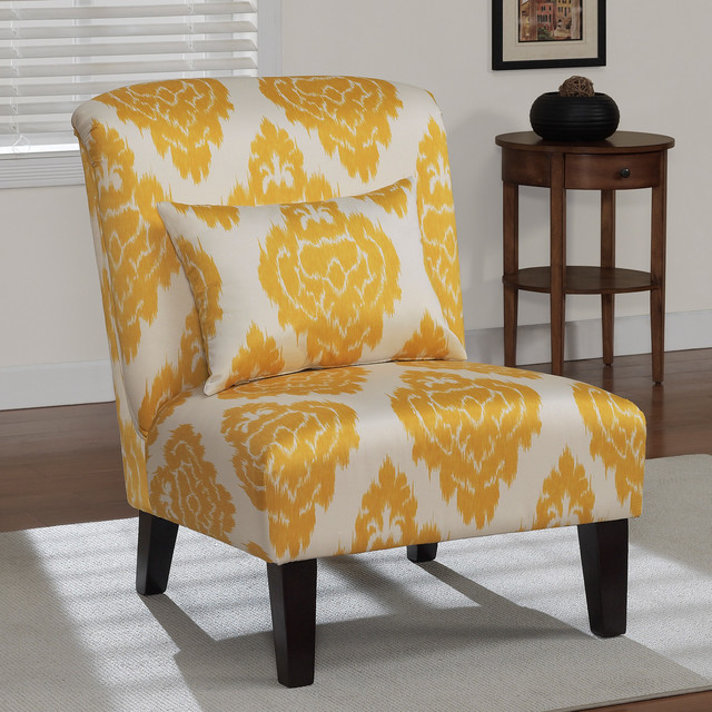 Accent Chair With Round Back Yellow: Anna Yellow Ikat Accent Chair