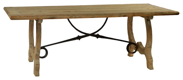 Reclaimed Dining Table Grey Wood Finish Traditional