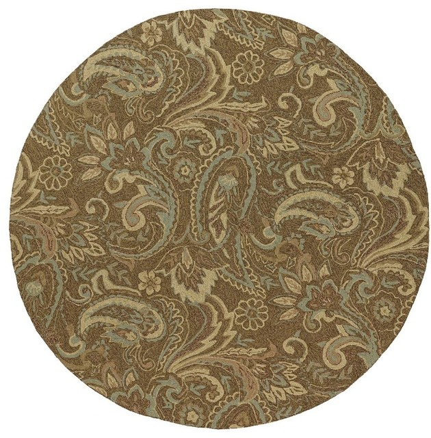 "Indoor Outdoor HNP Round 7 9"" Round Mocha Area Rug"