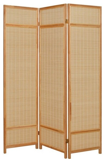 Pine Layered 3 Panel Floor Screen Asian Screens And