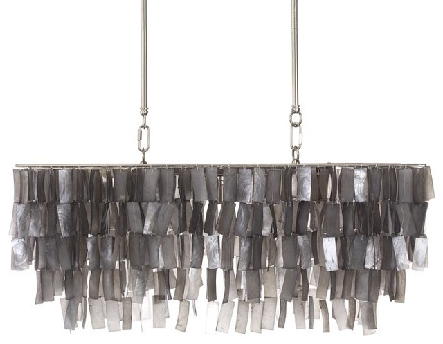 Large Rectangle Hanging Capiz Pendant Gray Contemporary