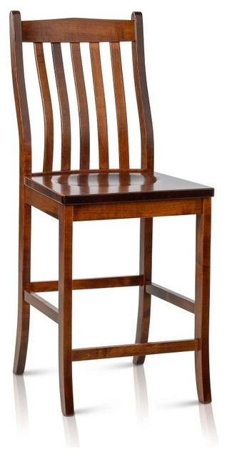 Solid Maple Wood Counter Height Bar Stool Transitional